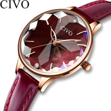 CIVO Fashion Luxury Ladies Wristwatches Women Waterproof Red Wine Leather Watch Diamond Watches Women Casual Quartz Reloj Mujer цена