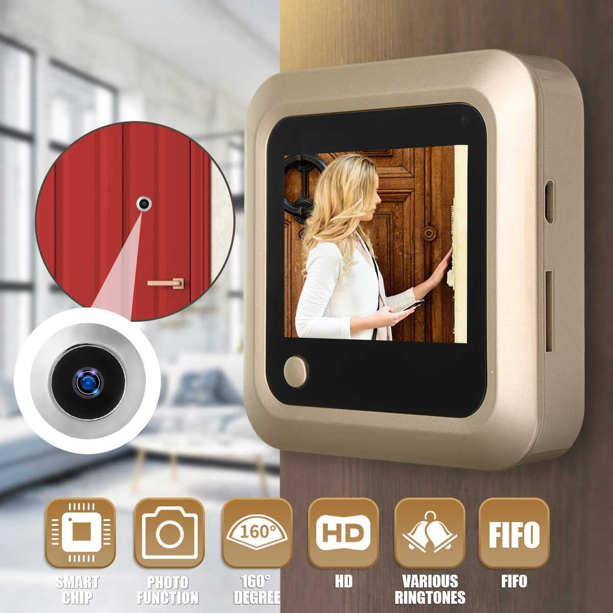 Camera Doorbell Peephole Viewer-Door Eye-Monitoring Digital LCD 160-Degree