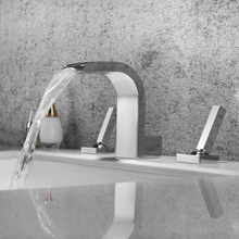SKOWLL Bathroom Basin Faucet Deck Mounted Dual Handle Faucet Mixer Hot and Cold Shower Room Sink Taps european style wall mounted shower mixers dual handle hot and cold water handheld artistic shower faucet kit
