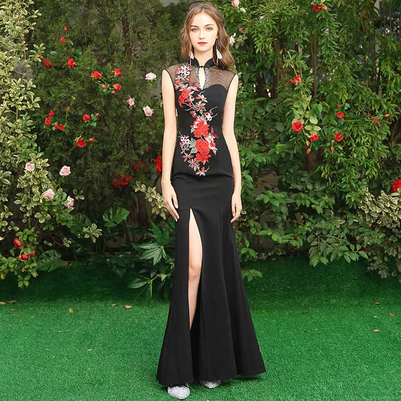 Black Sleeveless Long Dresses Evening Qipao Lady Chinese Pattern Banquet Cheongsam Split Flower Qipao Chinese Oriental Style XXL