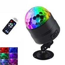 цена Mini Party light RGB LED Disco Ball Laser Projector Stage Lights Dj Club Ktv Bar Christmas Effect Lamp Remote control онлайн в 2017 году