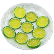 Gresorth 9 PCS Artificial Green Lemon Slices Collection Fake Fruits Decoration Photography Props