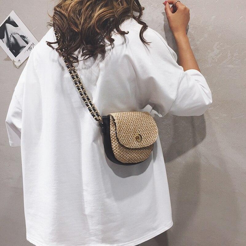 Women\'S PU Leather Bag Vintage Straw Weaving Falp Chains Female Single Shoulder Crossbody Bag 10C965