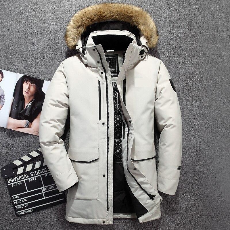 2018 nueva Parka para hombre chaqueta de invierno de alta calidad Cuello de piel con capucha abrigo cálido grueso abrigos largos  30 c talla grande 2XL-in Plumíferos from Ropa de hombre    1