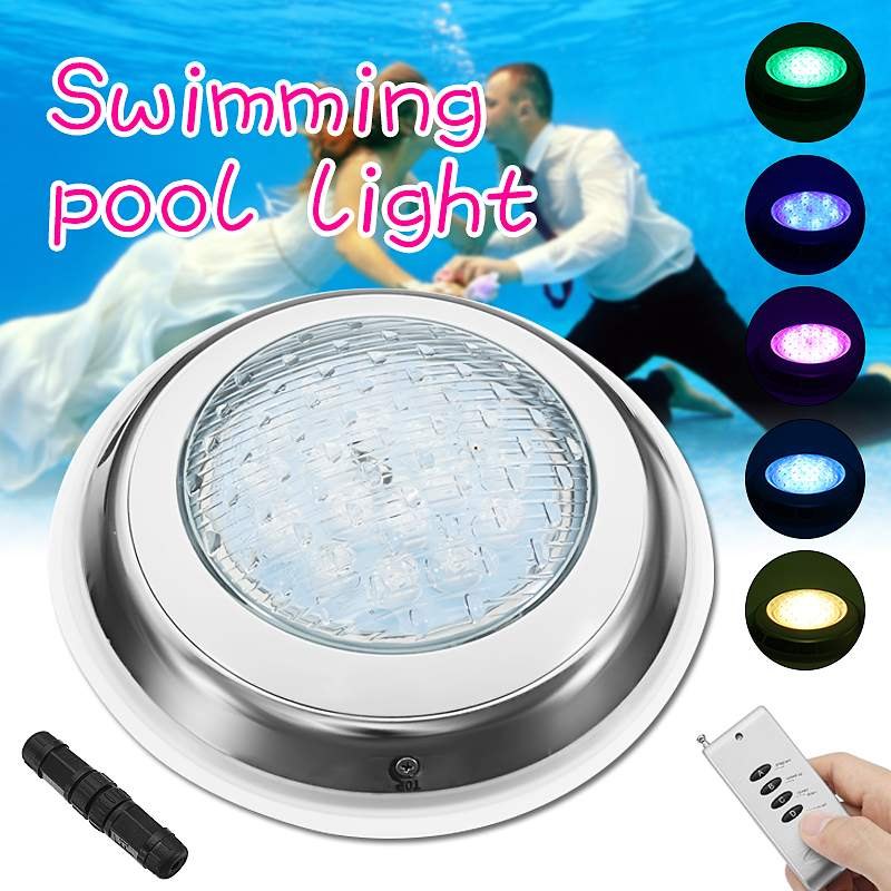 Swimming pool light 54W underwater fountain light RGB 7 color LED remote control resin filled wall mounted diving pool SPA light