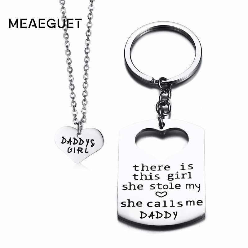 3 peças de Metal Colar de Coração Pingente E Chaveiro Tag de Cão de Aço Inoxidavel Cor Prata Homens Colar Homem Da Família do Pai do Pai presentes