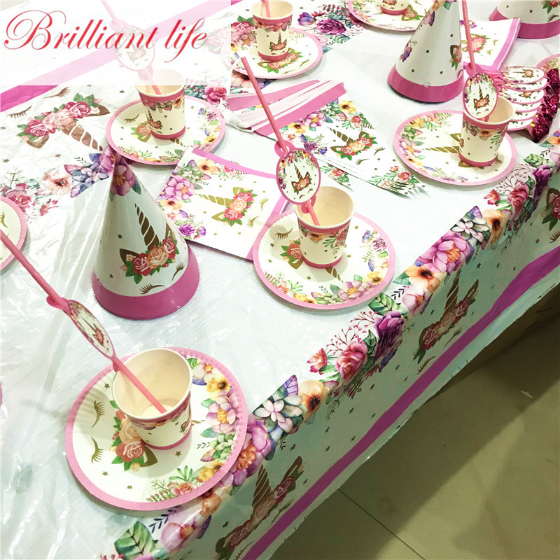 147pcs Unicorn Theme Kid Favors Birthday Party Paper Cup Plate Banner Cartoon Cake Stand Christmas Decorations For Home Supply
