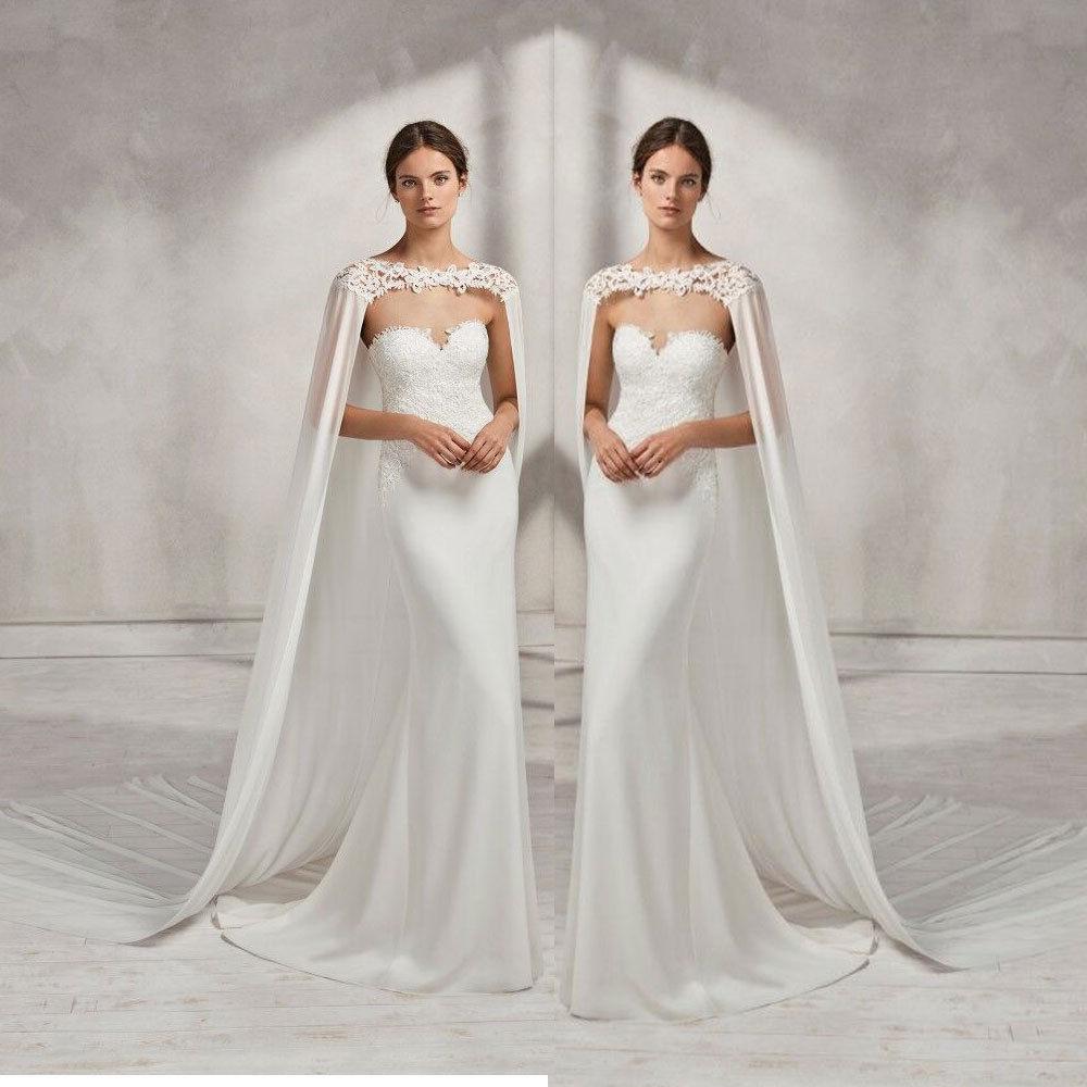 Robe de mariée longue robe de mariée blanche ivoire Cape en mousseline de soie châle avec dentelle enveloppe veste
