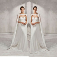 Wedding Bridal Long Cloak White , Ivory Bridal Dress Cape Chiffon Shawl with Lace Wraps Jacket
