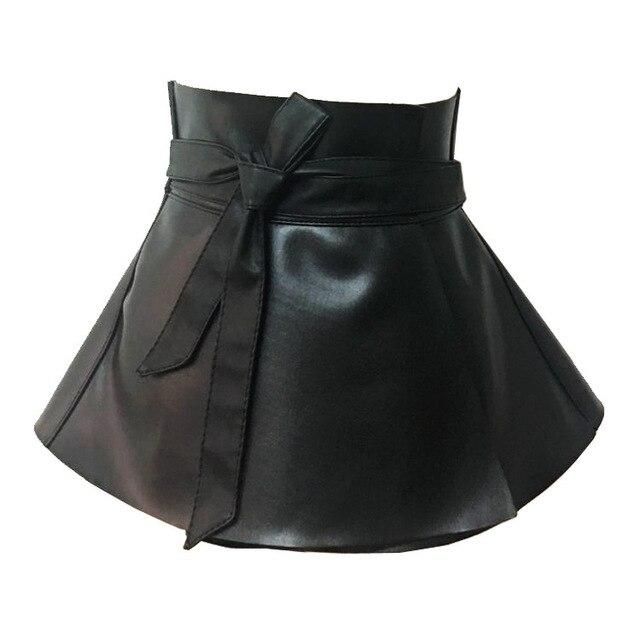 7124005e4f Ladies Peplum Black Dress Corset Belt Women s Bowknot Tie Adjustable Pu  Leather Ruffled Wide Waist Belts