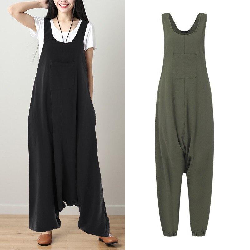 0528db02 ZANZEA 2019 pantalones de talla grande para mujer monos de lino Vintage mono  sin mangas para mujer Macacao pantalones de pierna ancha