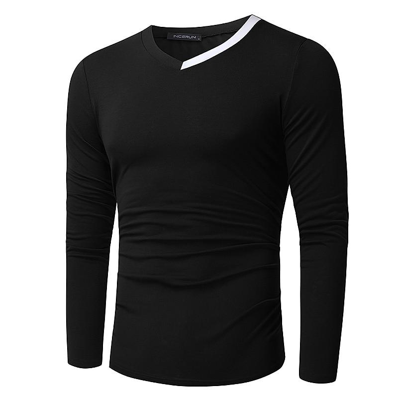 Elegant Mens T-Shirts Muscle Tee Long Sleeve Slim Fit Tshirt Autumn Fashion Tops Casual Tshirt V-Neck Camisas Hombre Clothing