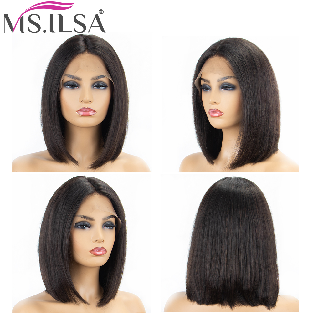 Short Bob Lace Front Wigs Human Hair Wigs For Women 4 Inch Straight Brazilian Remy Hair Lace Wigs Middle Part Full End MS.ILSA