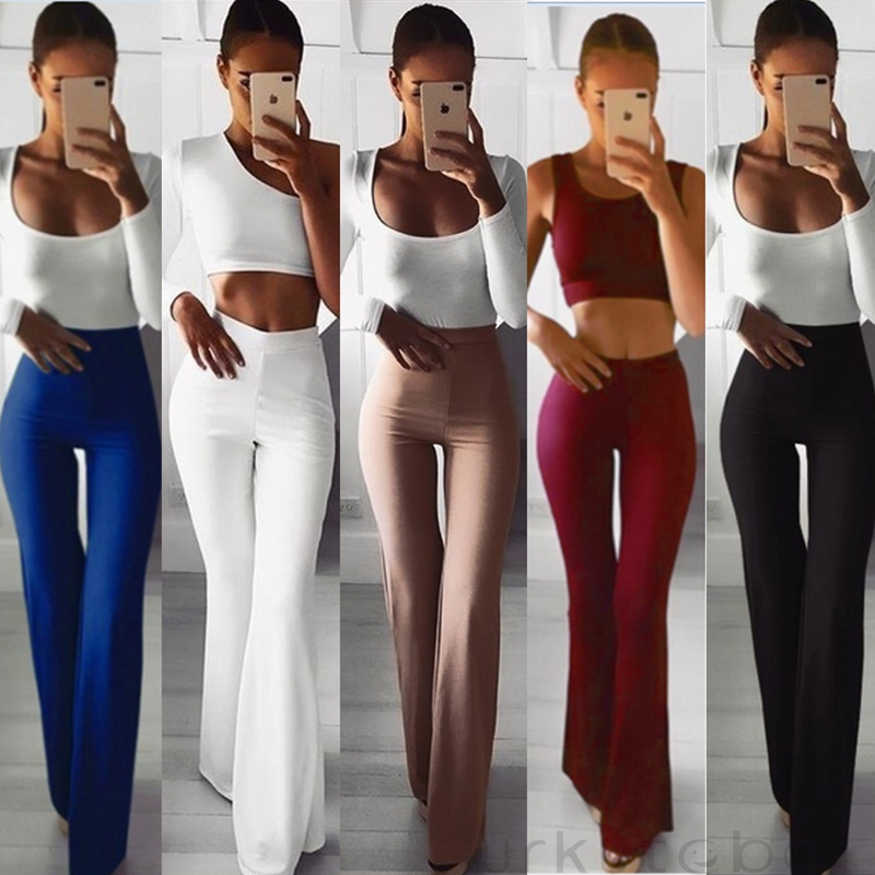 Fashion OL Women Solid High Waist Flare Wide Leg Chic Trousers Bell Bottom Stretch Pants