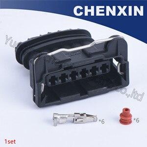 Czarny 6 pin auto złącze 3.5 kobiet wtyczki elektronicznej uszczelniony wodoodporny kabel okablowania przypadku 282236-2
