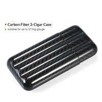 Black Carbon Fiber 3-Cigar Case Lightweight Cigar Storage Tube Holder Travel Cigar Humidor for up to 57 Ring Gauge Cigars