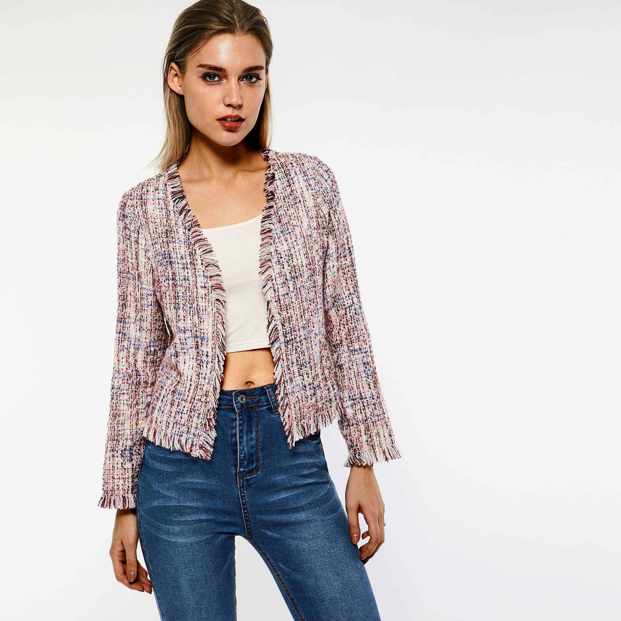 Sisjuly Tweed Jacket Coat Tassel Boho Pink Slim Vintage Women Work Sweet Spring Retro