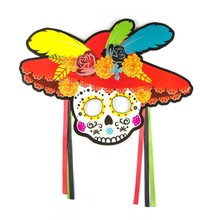 Pack of 4pcs Day Of The Dead Decorations Halloween Mask Party Supplies Mexican Skull Sugar Masks Photo Booth Props