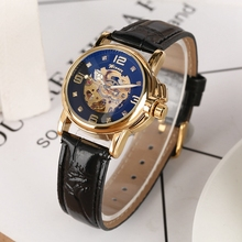 WINNER Women Watch Crystal Diamond Display Automatic Mechanical Leather Lady Skeleton Female Top Brand Luxury reloj