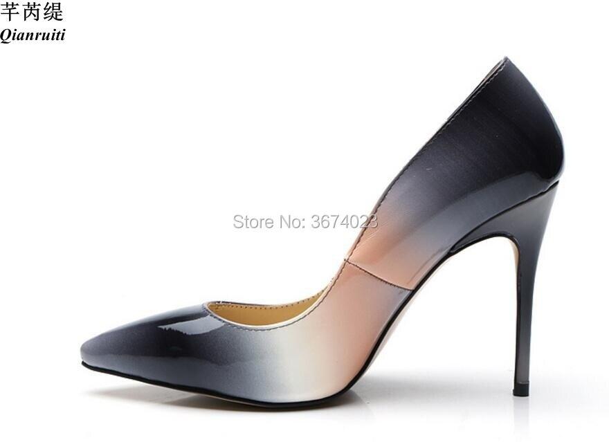 6b2d60fb944e2 Charol Tacones Toe Señora Qianruiti Altos Mujeres Zapatos Punta En Bombas  Oficina Stiletto Gradiente Los 2018 Mujer Resbalón qqt4pfTF