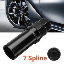 Màu đen 7 Hai Mặt Spline Tuner Lug Nut Khóa Ổ Cắm Chìa Khóa Loại Bỏ Thép Công Cụ