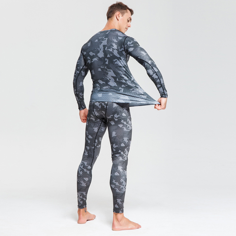 Image 5 - Men Compression sportswear Run Suits Clothes Sports Set Long t shirt And leggings Gym Fitness workout Tights clothing base layer-in Running Sets from Sports & Entertainment on AliExpress