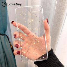 Lovebay Bling Star brillo suave cajas del teléfono TPU para iphone XS Max XR 8X8 7 6 6S Plus 5 5S SE brillante en polvo cubierta transparente(China)