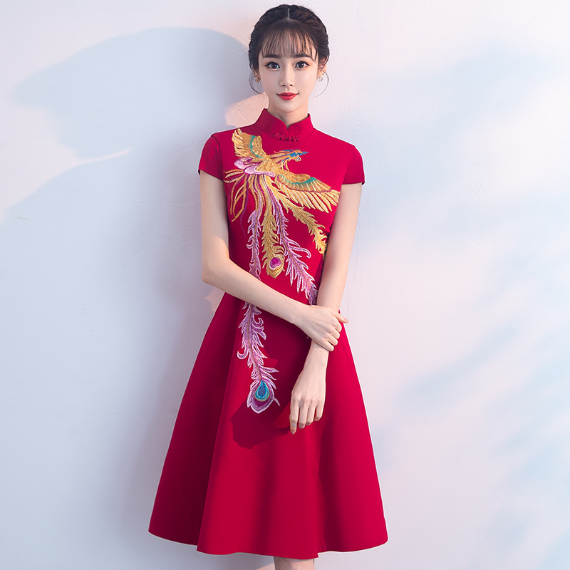 Style chinois robe complète rétro col montant Phoenix broderie robes courtes vin rouge Cheongsam