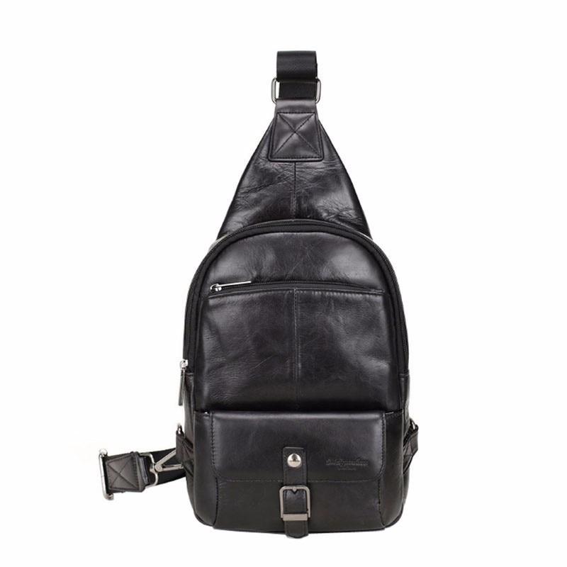 Men Real Leather Sling Chest Back Pack Travel Messenger Hiking Shoulder Bag