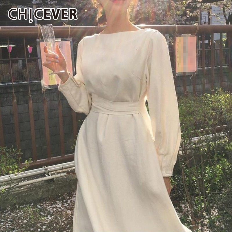 CHICEVER Autumn Dress Female O Neck Long Sleeve High Waist Bow Bandage White Long Dresses For Women Korean Fashion Elegant 2020