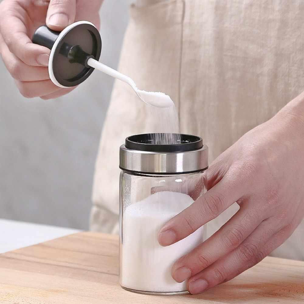 โปร่งใสอุปกรณ์ครัวพลาสติกเครื่องปรุงรสกล่องเก็บเกลือเครื่องเทศเกลือน้ำตาลพริกไทยผงช้อน