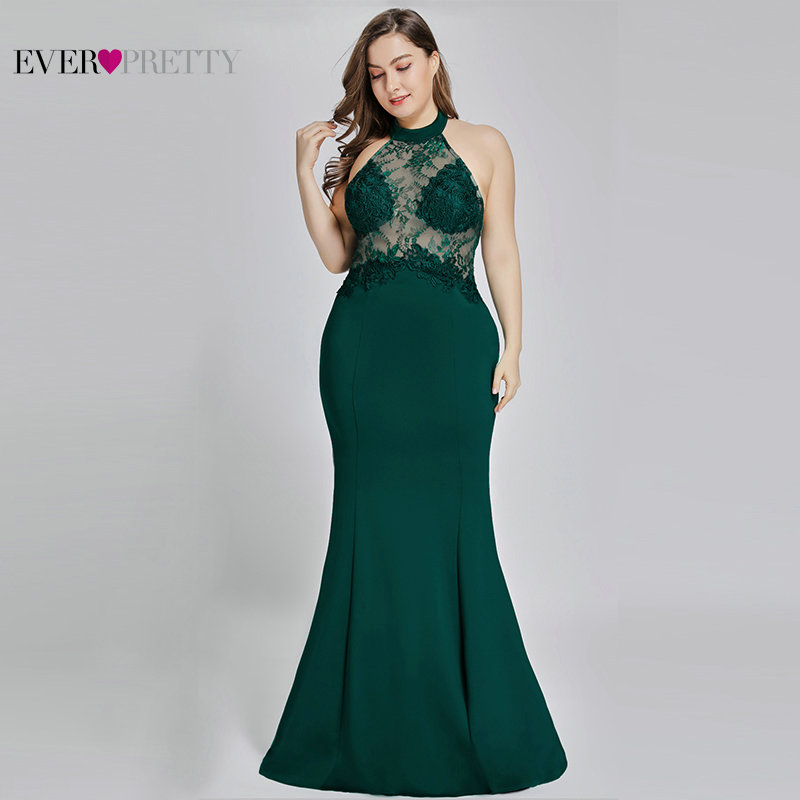 Plus Size   Prom     Dresses   Long 2019 New Arrival Ever Pretty EP07189 Backless Mermaid Lace Appliques Green Sexy Wedding Party Gowns