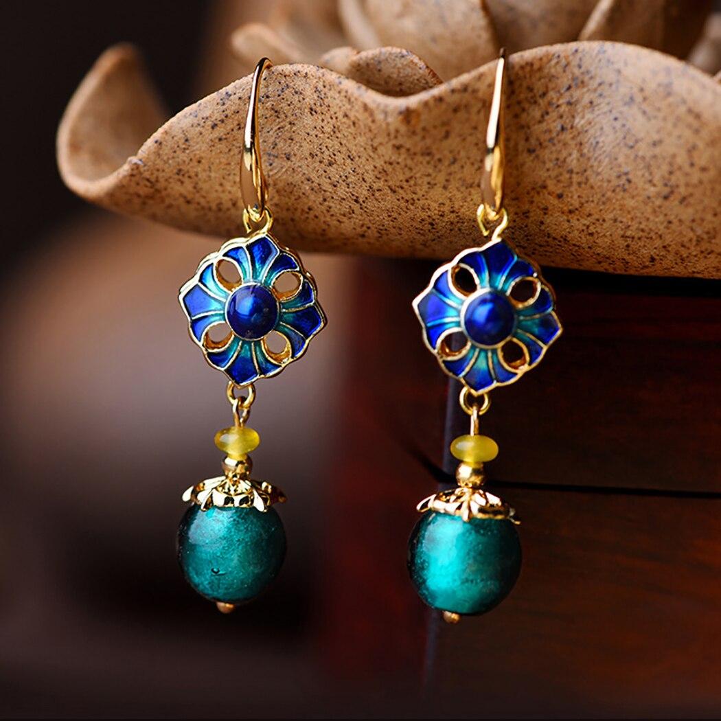 Takı ve Aksesuarları'ten Damla Küpeler'de Emaye işi Etnik Stil Vintage Kolye Egzotik Vintage Çiçek Küpe Mavi Renkli Sır Takı Vintage Çin Hanedanı title=
