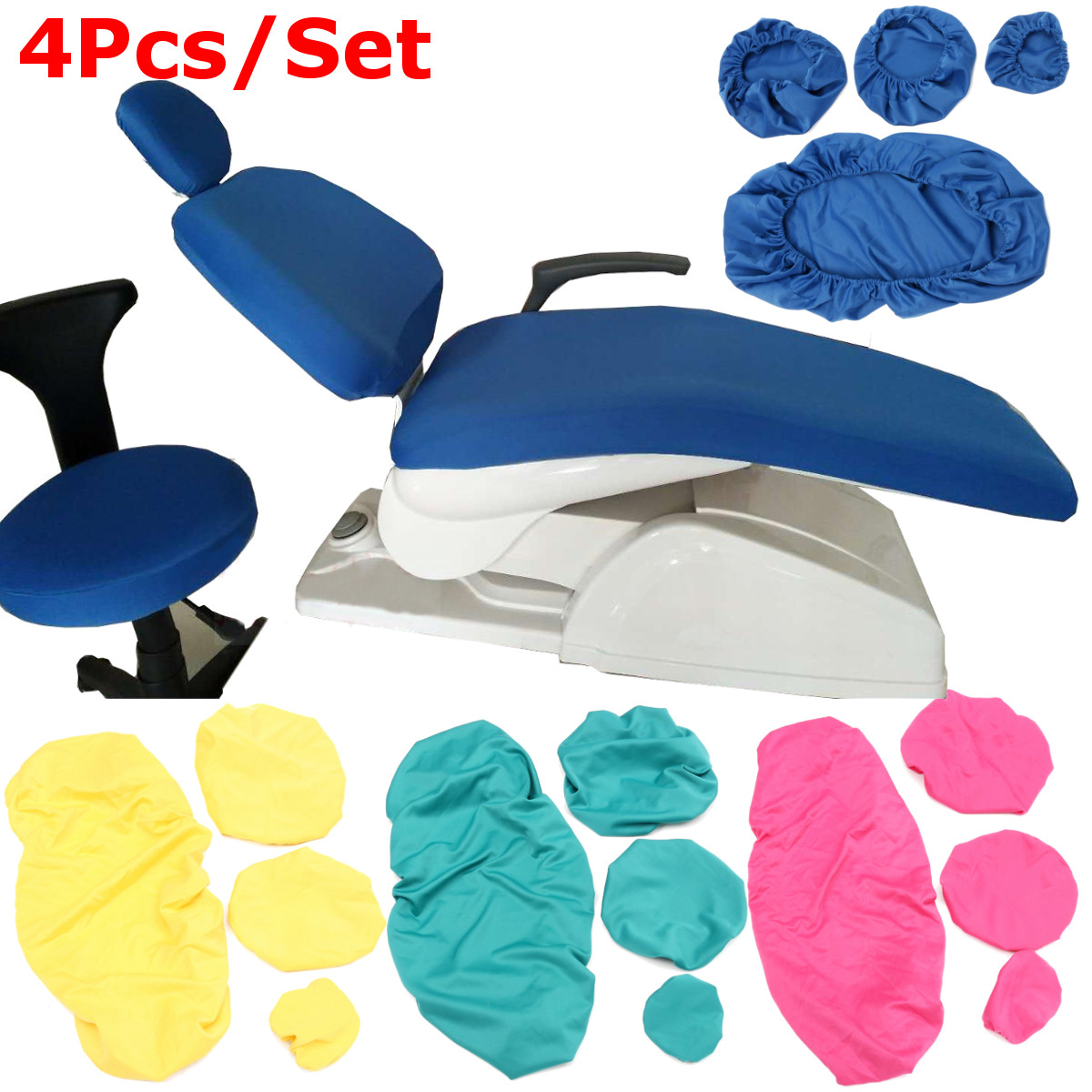 4Pcs/Set Protective Dental Unit Covers Sleeves Cushion Elastic Case Cloth Seat Headrest Protector Kit Dentist Stool Accessories