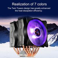 T610P 6 Copper Heatpipe CPU Cooler Radiator 12cm RGB 4Pin PC Silent Cooling Fan Heatsink for Intel AMD