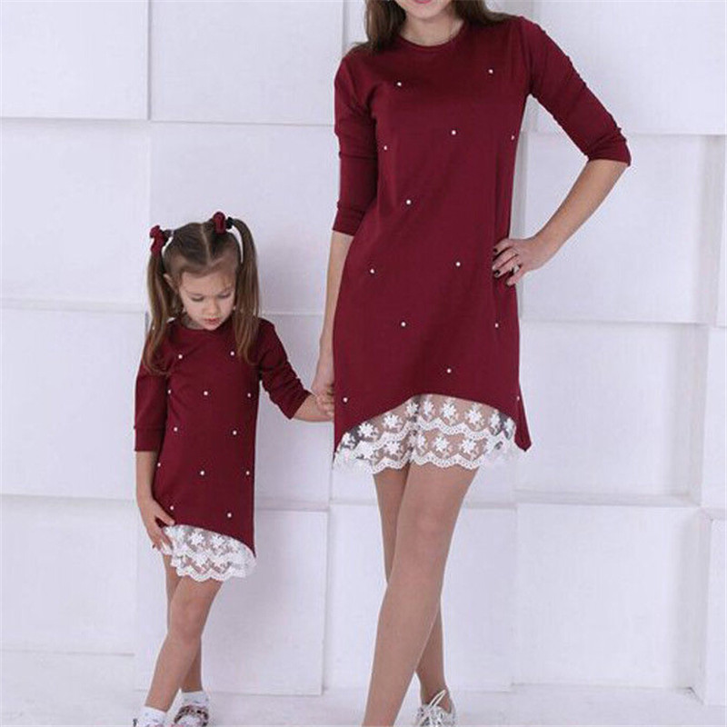 Parent Child Outfits Pearl-Dress Family Matching Daughter Mommy Kids And Me Solid