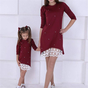 2019 Mommy and me family matching mother daughter dresses clothes solid mom and daughter pearl dress kids parent child outfits 1