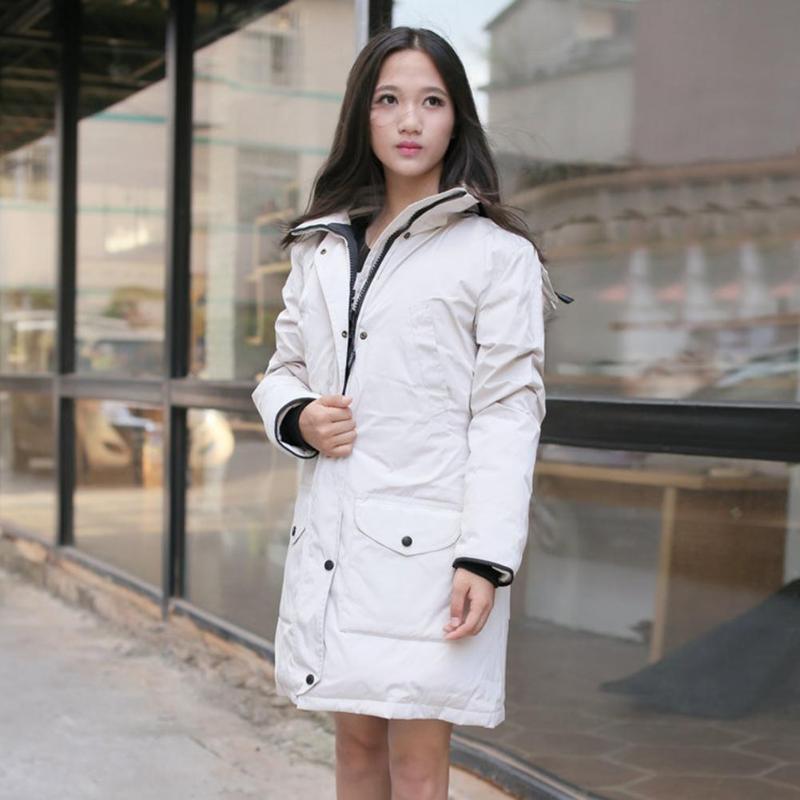 Women Winter Thicken Warm   Down     Coat   Pockets Casual Slim Outdoor Windproof Women Long Jacket   Coat   Zipper Duck   Down   With Hooded