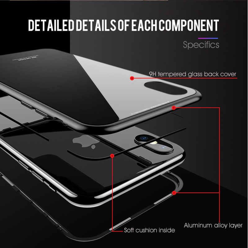 Adsorbimento magnetico Cassa del Metallo Per il iPhone XR XS MAX X 8 Più di 7 + Temperato Magnete Di Vetro Della Copertura Posteriore per iPhone 7 6 6S Plus X Custodie