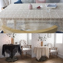 American Handmade Crochet Tablecloth Embroidered Hollow Rectangular Cotton Kitchen Dining Table Cover Home Textile