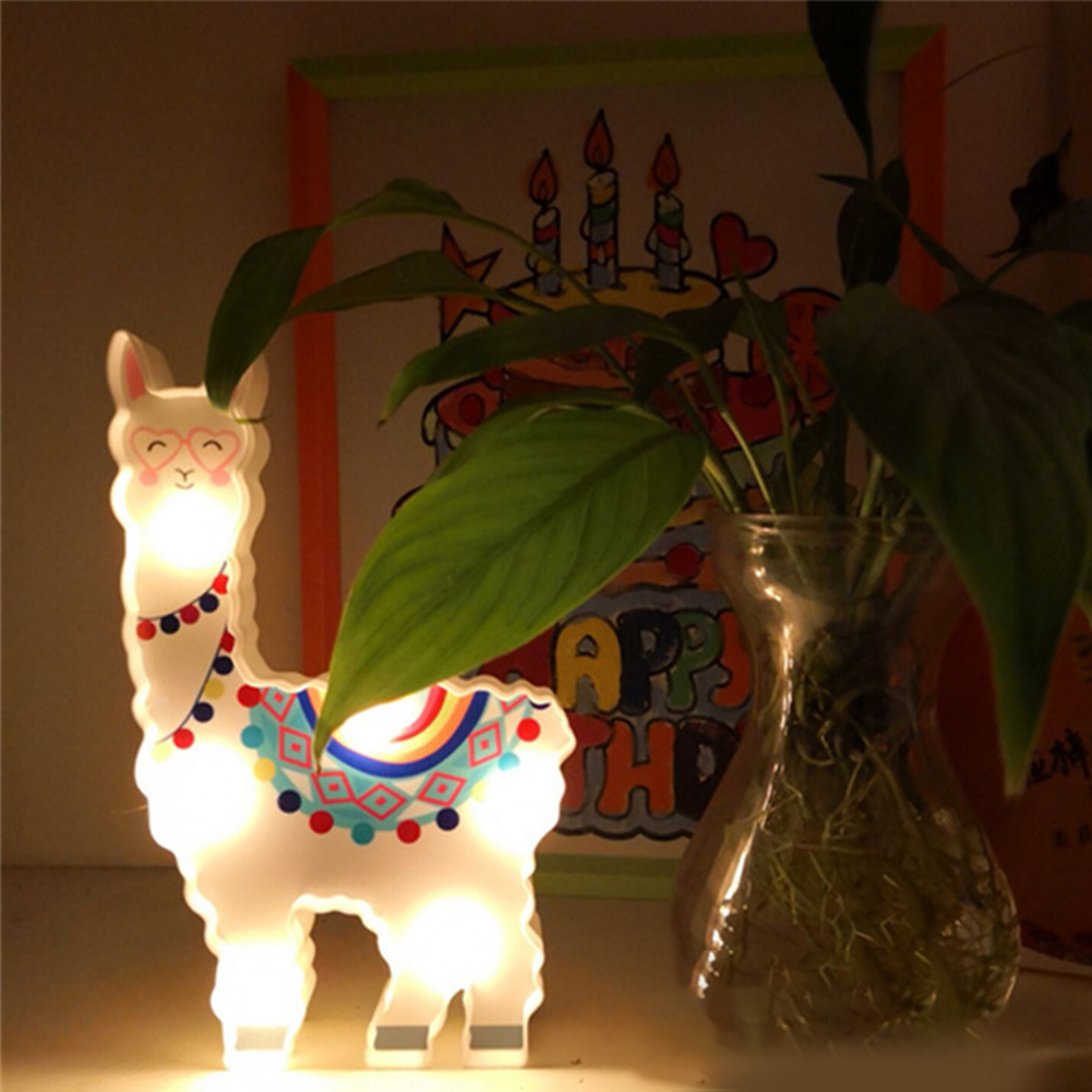 6leds Decorative Hanging Night Lamp Light Alpaca Shape Cute Battery Powered Bedside Gift Path Desktop