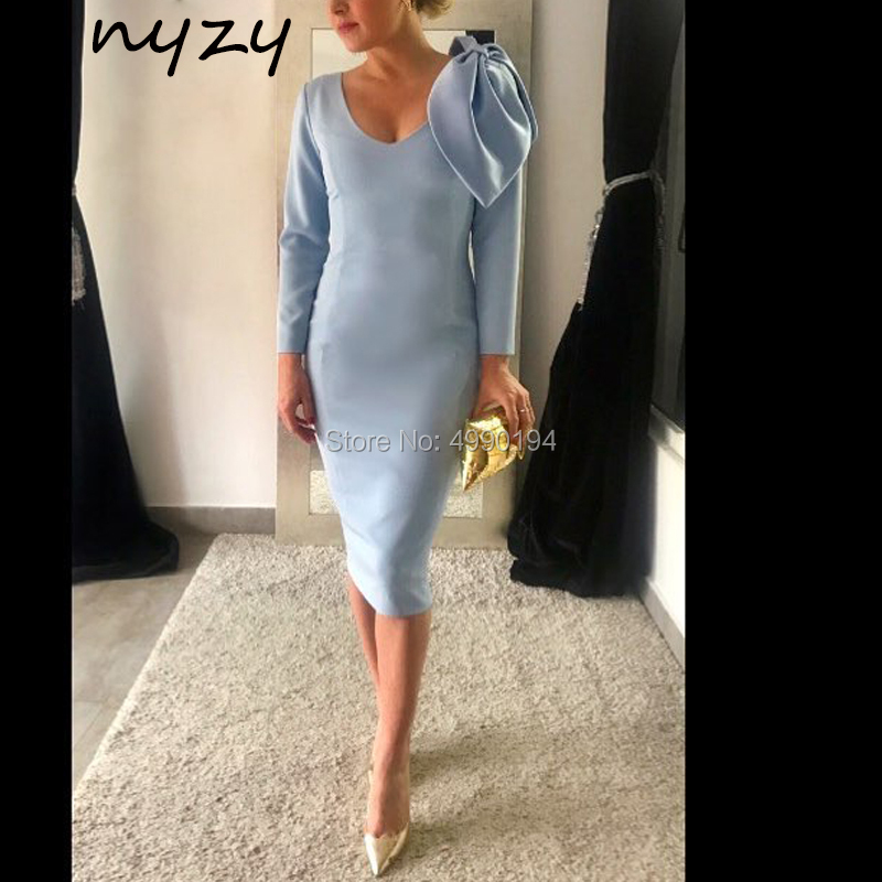 Big Bow Blue Cocktail Dresses Below Knee Length Long Sleeves Satin Dress For Wedding Party Graduation Homecoming 2019 NYZY C46