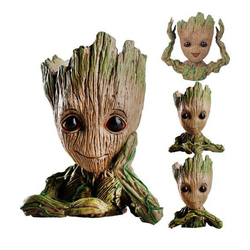PVC Cute Baby Groot Flowerpot Flower Pot Planter Action Figures Tree Man Cute Model Toy Pen Pot Garden Flower Planter Pot