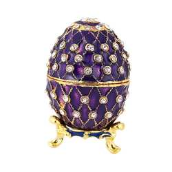 Коробка для пасхальных яиц фиолетовый Фаберже Стиль яйцо образные украшения металлическая коробка для бижутерии ремесел яйцо шкатулка