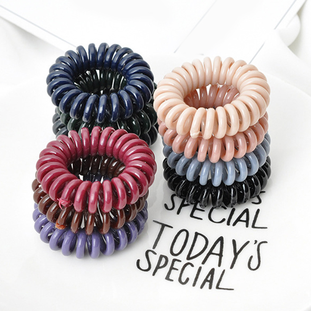 12x 4color Rubber Telephone Wire Hair Ties Spiral Slinky Hair Head Elastic Bands