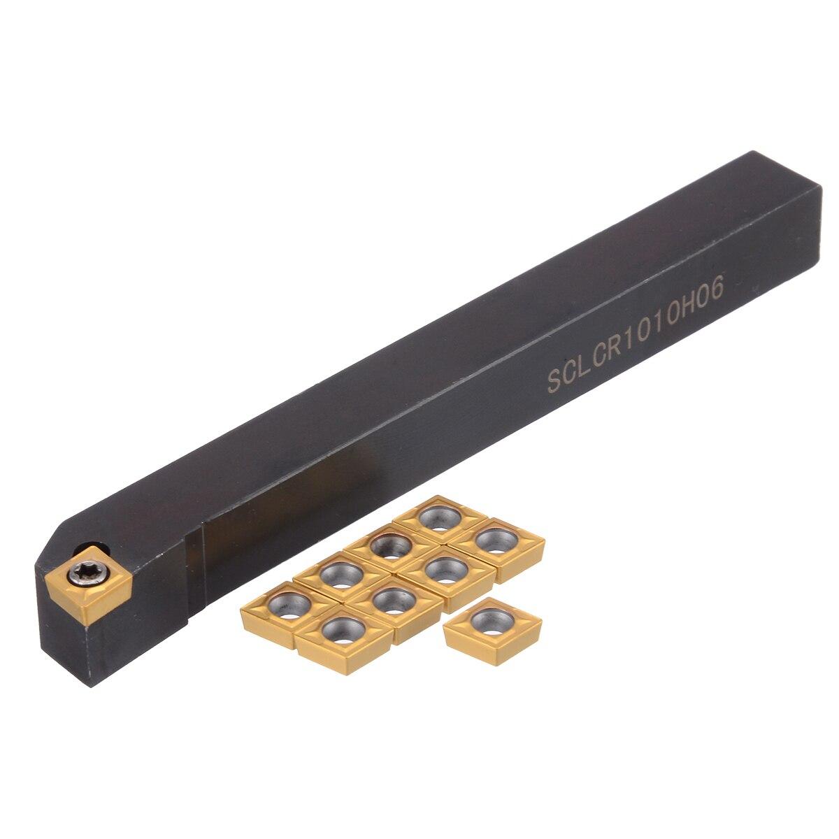 Ferramenta de torneamento de torno prático 1pc sclcr1010h06 chato barra + 10 peças inserções ccmt0602 1 chave de fenda
