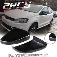 1 par Esquerda/Direita Para Volkswagen Para VW Polo 2009-2017 Porta Lateral Asa Espelho Capa Caps Shell pintado de Preto
