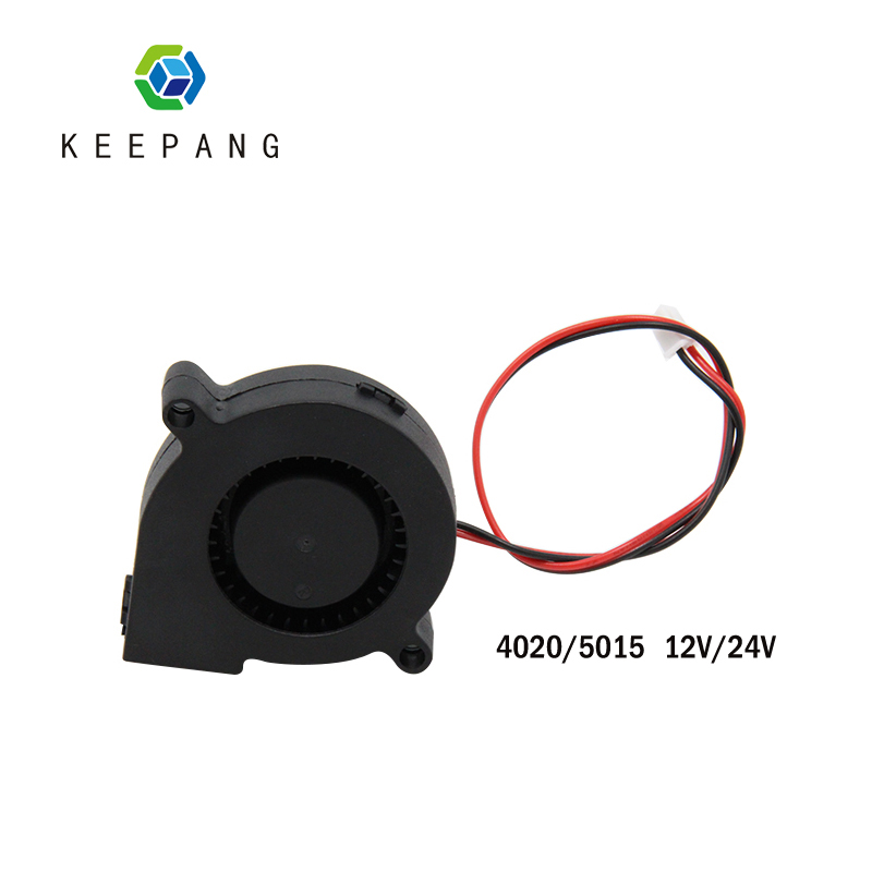 Kee Pang 4020/5015 Cooloing Fan For 3D Printer 12V/24V Radiator Cooling Turbo Fan 2 Pin Extruder DC Clooer Blower Black Plastic