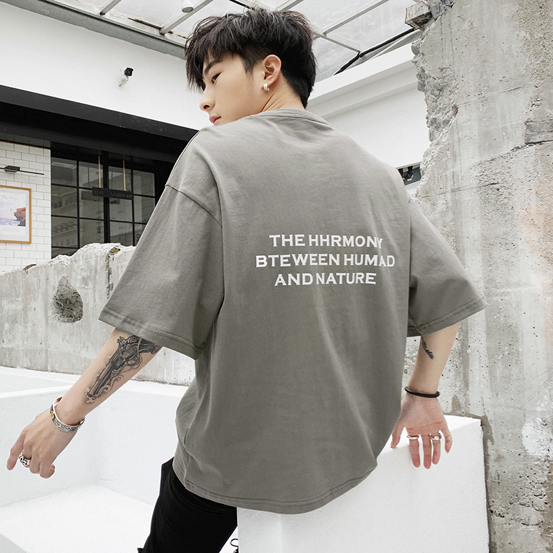 2019 The New Listing Spring And Summer Korean Casual Men's Solid Color Trend Short-sleeved Harajuku T-shirt Street Best Tops