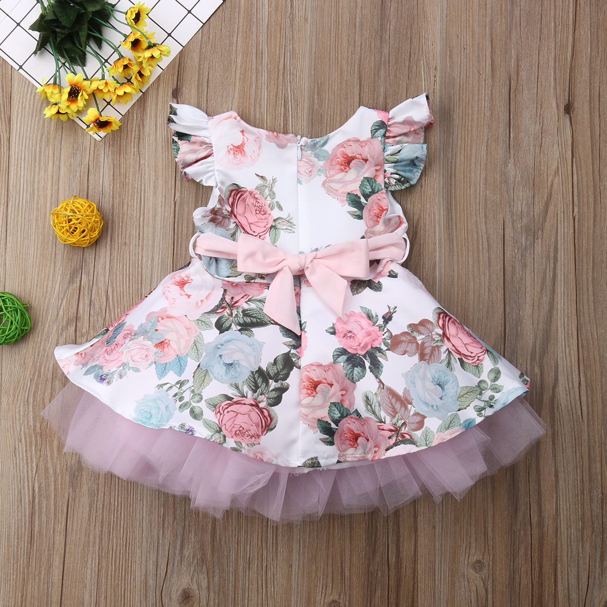 Princess Toddler Newborn Baby Girls Dress Flower Lace Tutu Party Wedding Birthday Dress For Girls Summer Baby Girl Clothing(China)